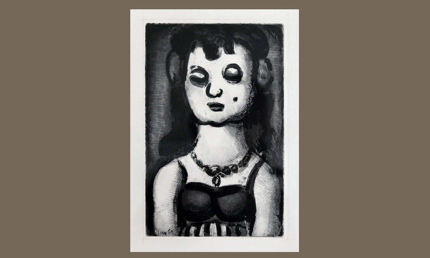 """Georges  Rouault  (1871-1958,  France)  Sainte-Nitouche,  1928.  From  Ambroise  Vollard,"" ""Réincarnations du Père Ubu. Aquatint on BFK Rives paper, 25 x 16 cm. Department of  Art""""and Architecture purchase. hws-r-73"""