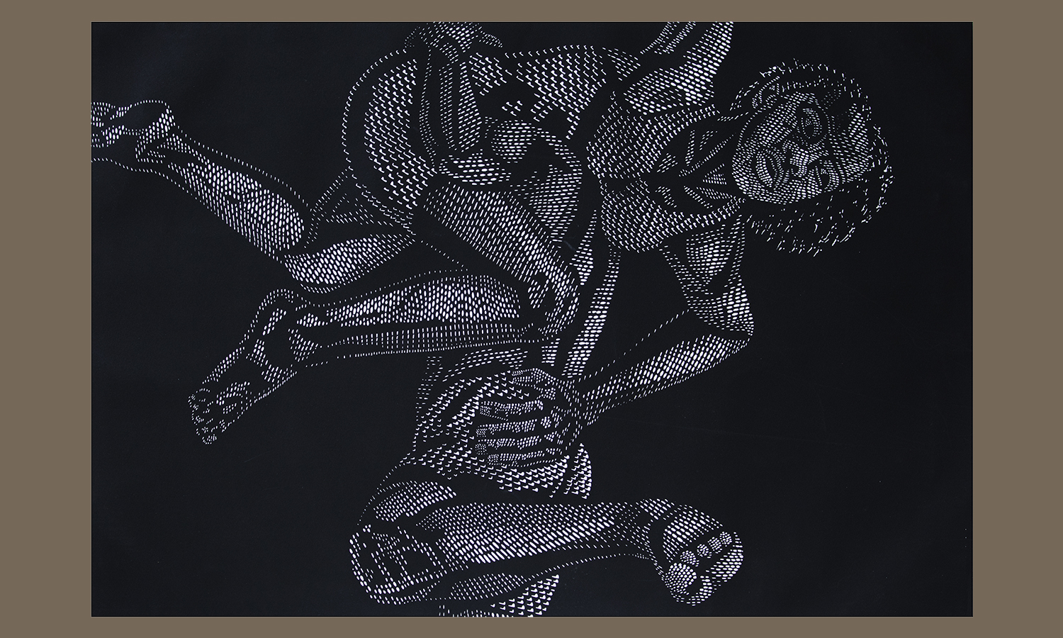 """Blissful Swing III,"" Linocut, by Vuyile Cameron Voyiya, 1990-1999, Gift of Edward T. Pollack '55 in honor of Mark and Mary Gearan in recognition of their strong support for the performing arts"