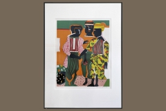 """""""Conjunction,"""" Lithograph on Arches paper, by Romare Bearden in 1979, Gift of Kenneth L. Halsband '88"""