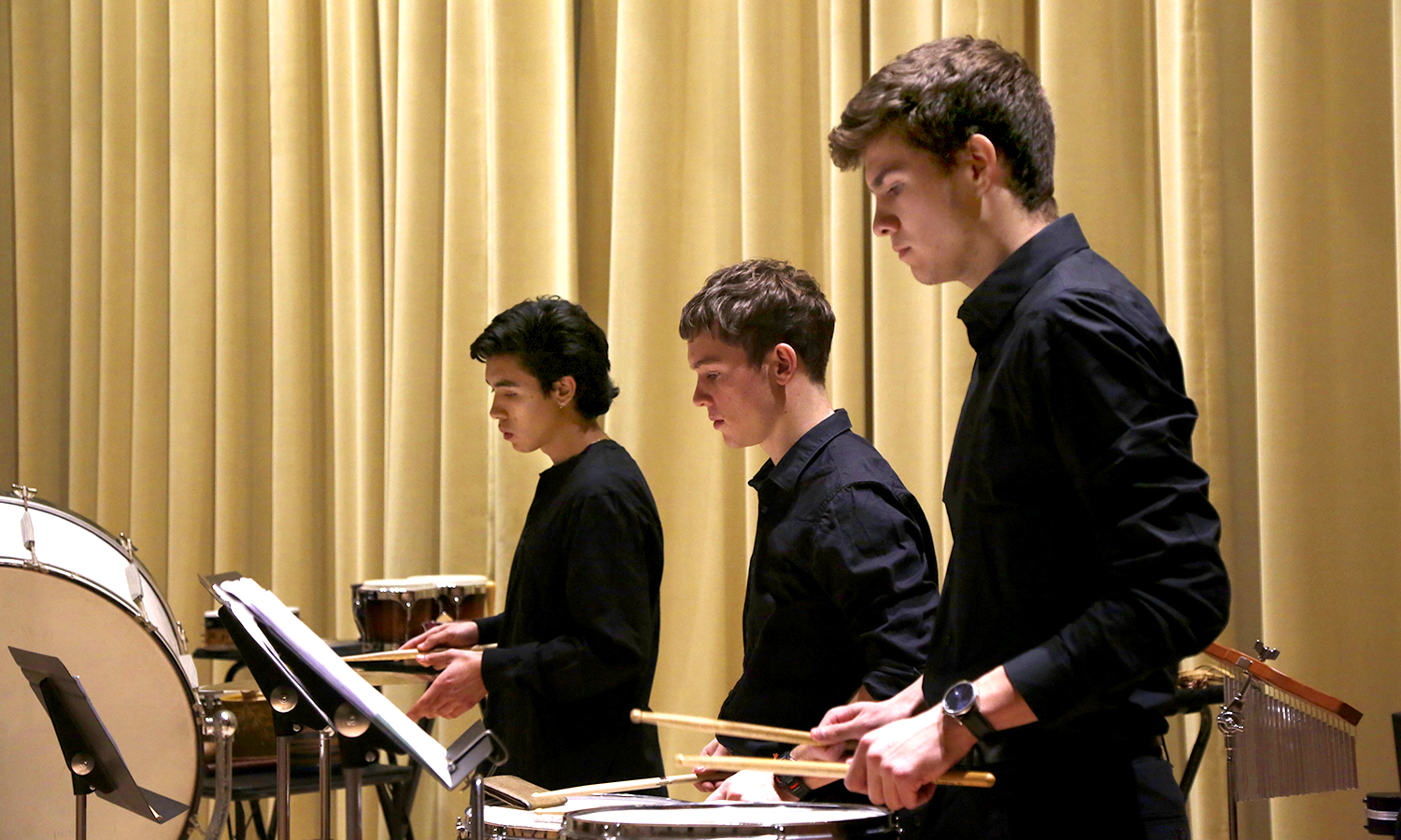 Felipe Pantle, X, and X (L to R) during Percussion Ensemble.