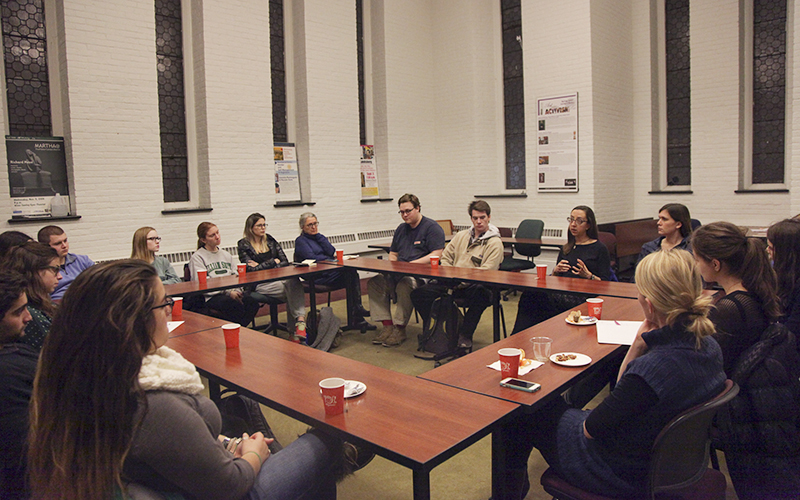 Women's Studies Tea discusses reproductive justice and freedom. This talk was facilitated by Women's Studies professors Jessica Hayes-Conroy and Betty Bayer as well as their guest and theatre professor Chris Woodworth.