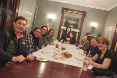 Students gather at the Abbe Center for Jewish Life to make edible dreidels out of marshmallows, pretzel sticks, and Hershey Kisses for Hanukkah.