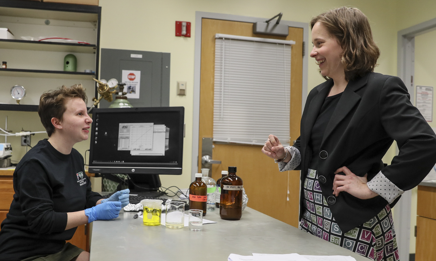 Meg Quint '21 chats with Assistant Professor of Chemistry Elana Stennett in Rosenberg Hall. Quint and Stennett are researching the relationship between fluorescently-labeled proteins and the biofouling of membranes during desalination.