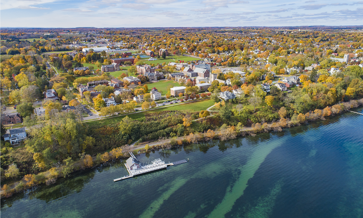 In this special edition of This Week in Photos, we share some of the photos that capture the fall season on campus. In the photo above, an aerial view shows the leaves changing color in the Finger Lakes Region.