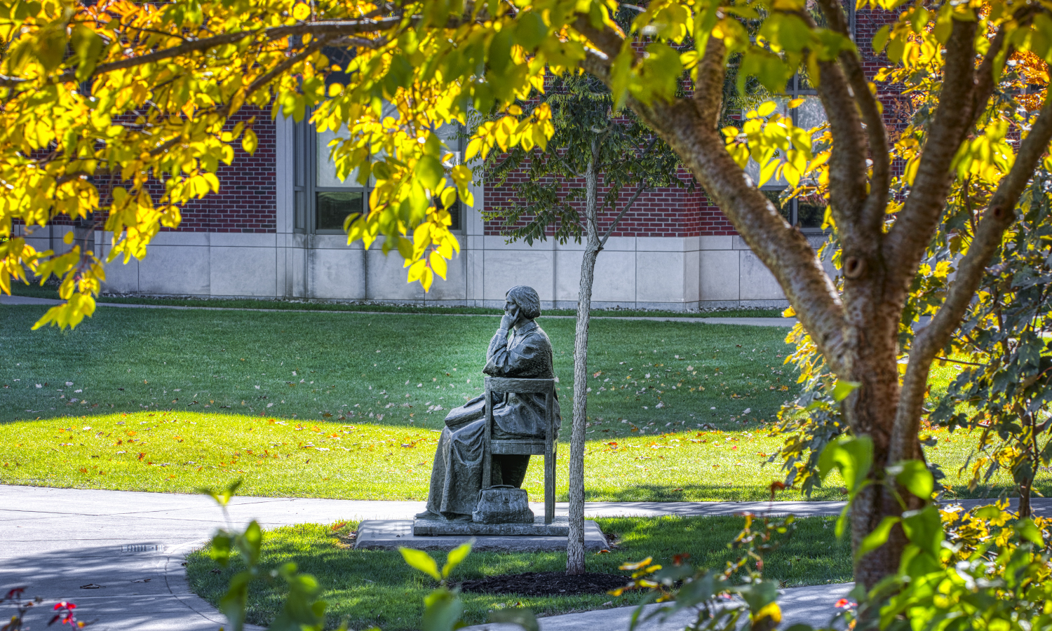 The statue of Dr. Elizabeth Blackwell, created by Professor of Art and Architecture A.E. Ted Aub in 1994, watches fall arrive on the Quad. In 1849, Blackwell graduated from the medical school of Geneva College (Hobart's precursor) as the first woman in the country to receive a medical degree. (Geneva College was renamed Hobart Free College in 1852 and Hobart College in 1860.)
