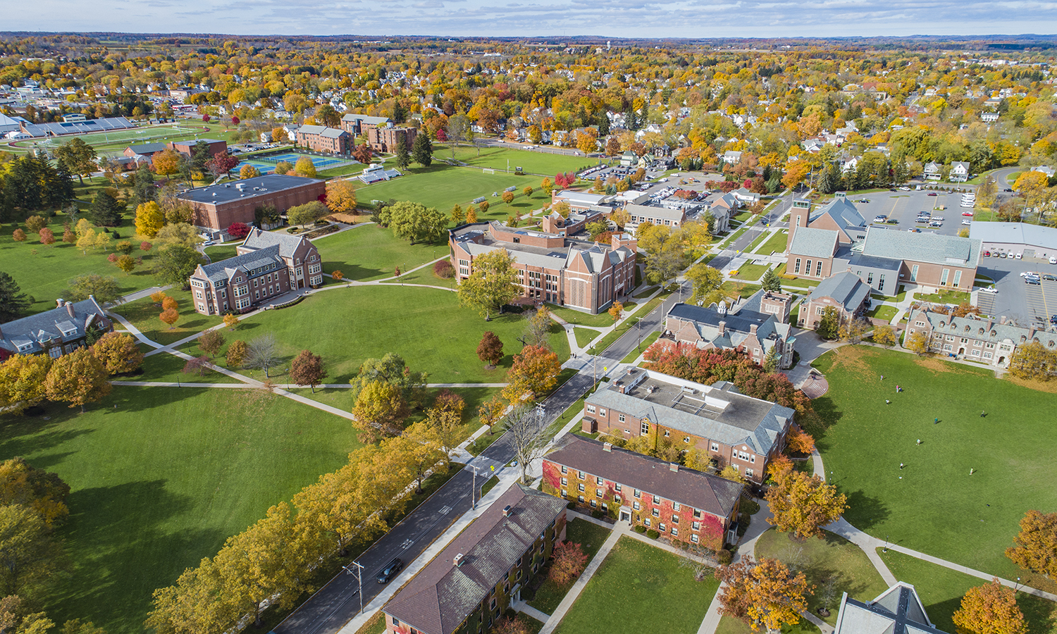 An aerial view of campus above Pulteney Street.