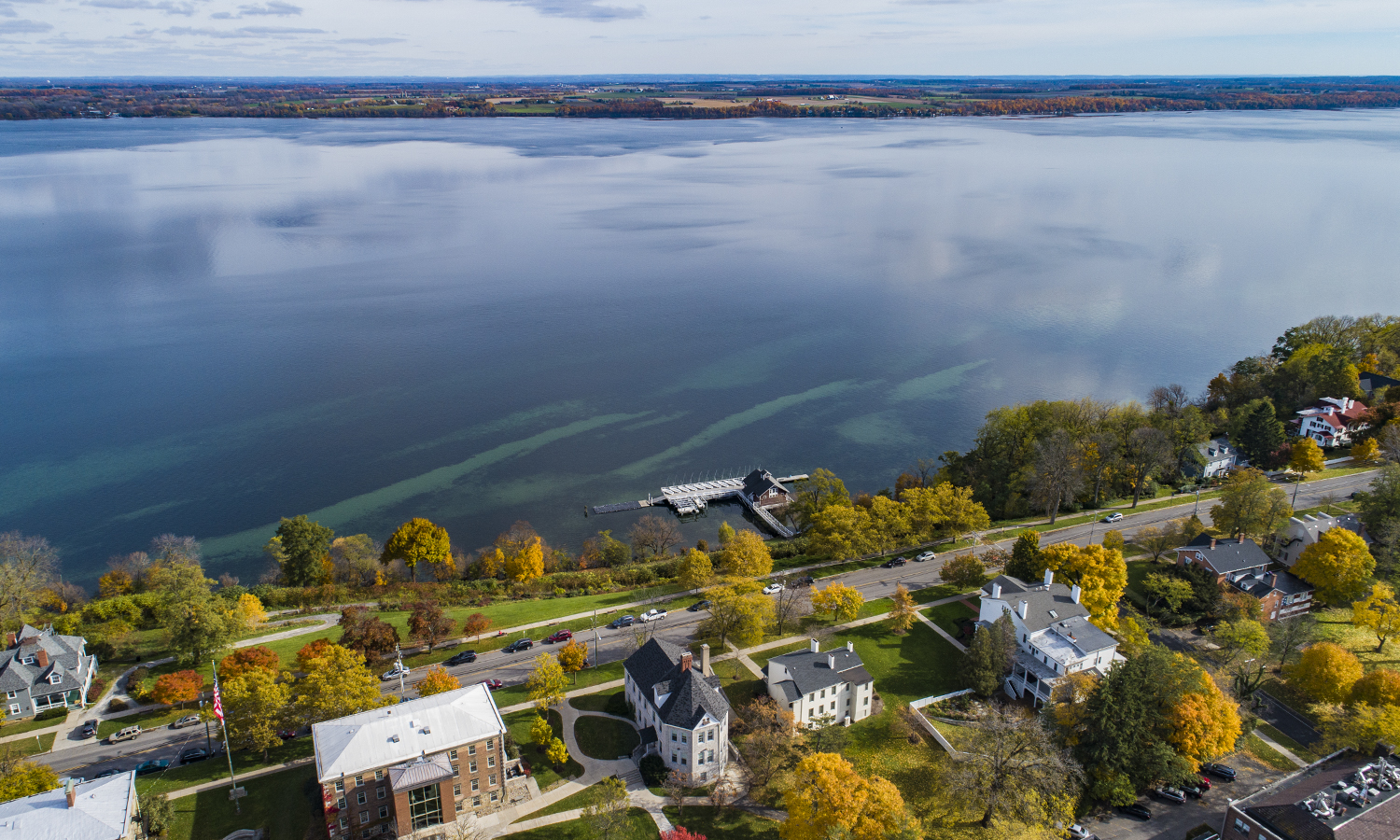 An aerial view of Seneca Lake.