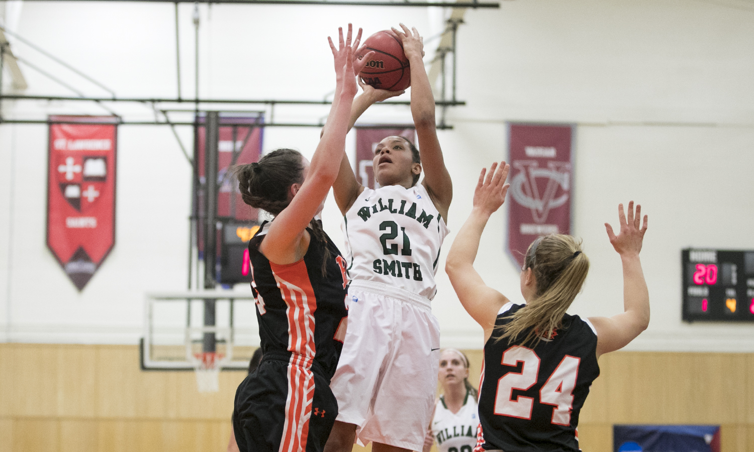 William Smith sophomore Mia Morrison had a double-double on 10 points and a game-high 13 rebounds against RIT Wendnesday nights Liberty League game.