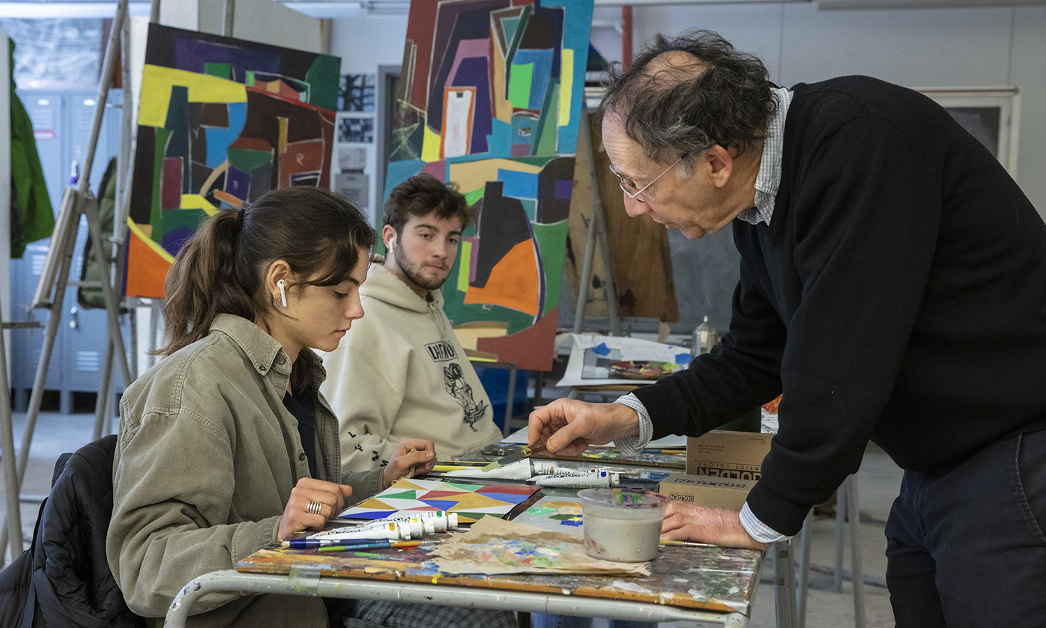 "During ""Color and Composition,"" Professor of Art and Architecture Michael Bogin works with students as they configure color shapes into a coherent compositional hierarchy."