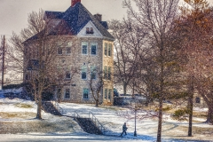 Snow falls on the Quad on Wednesday.