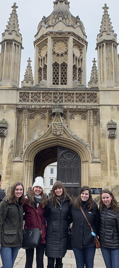 Carsen Lennon 'X, Gillian Owens 'X, Sarah Linsner 'X, Samanatha Buckenmaier 'X and Chloe Emler 'X pose for a photo during a trip to Cambrdge. Lennon, Owens, Lisner, Buckenmaier, and Ethier are currently studying abroad at the University of East Anglia in Norwich, England.