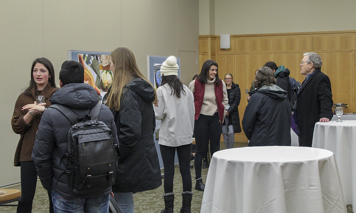 Students visit Blocker Fellows to hear about their abroad experiences through the Frieburg and Berlin IES programs in the Vandervort Room Monday, February 18.