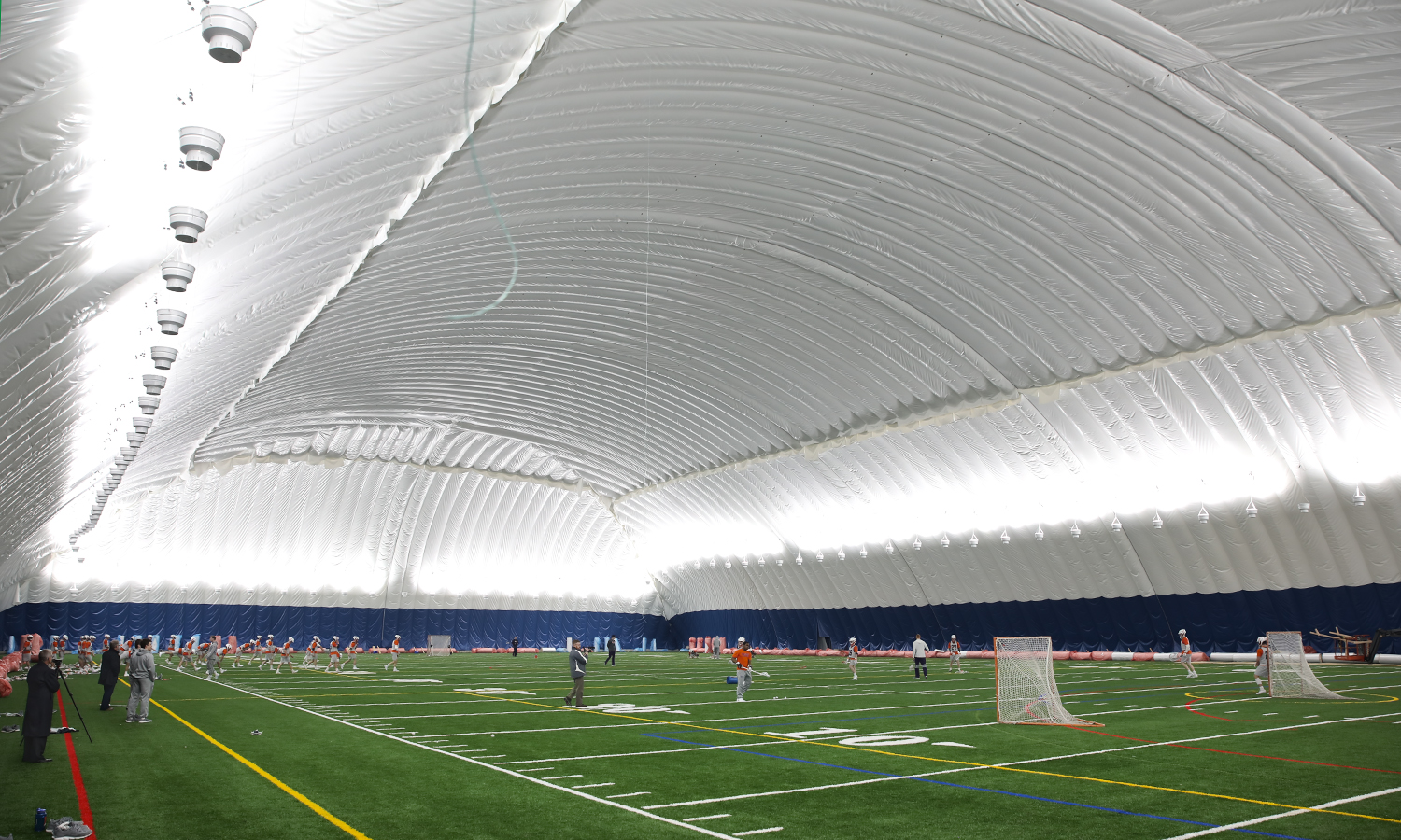 The Hobart Lacrosse team practices on the new indoor turf field located at the south end of Robert A. Bristol '31 Field House.