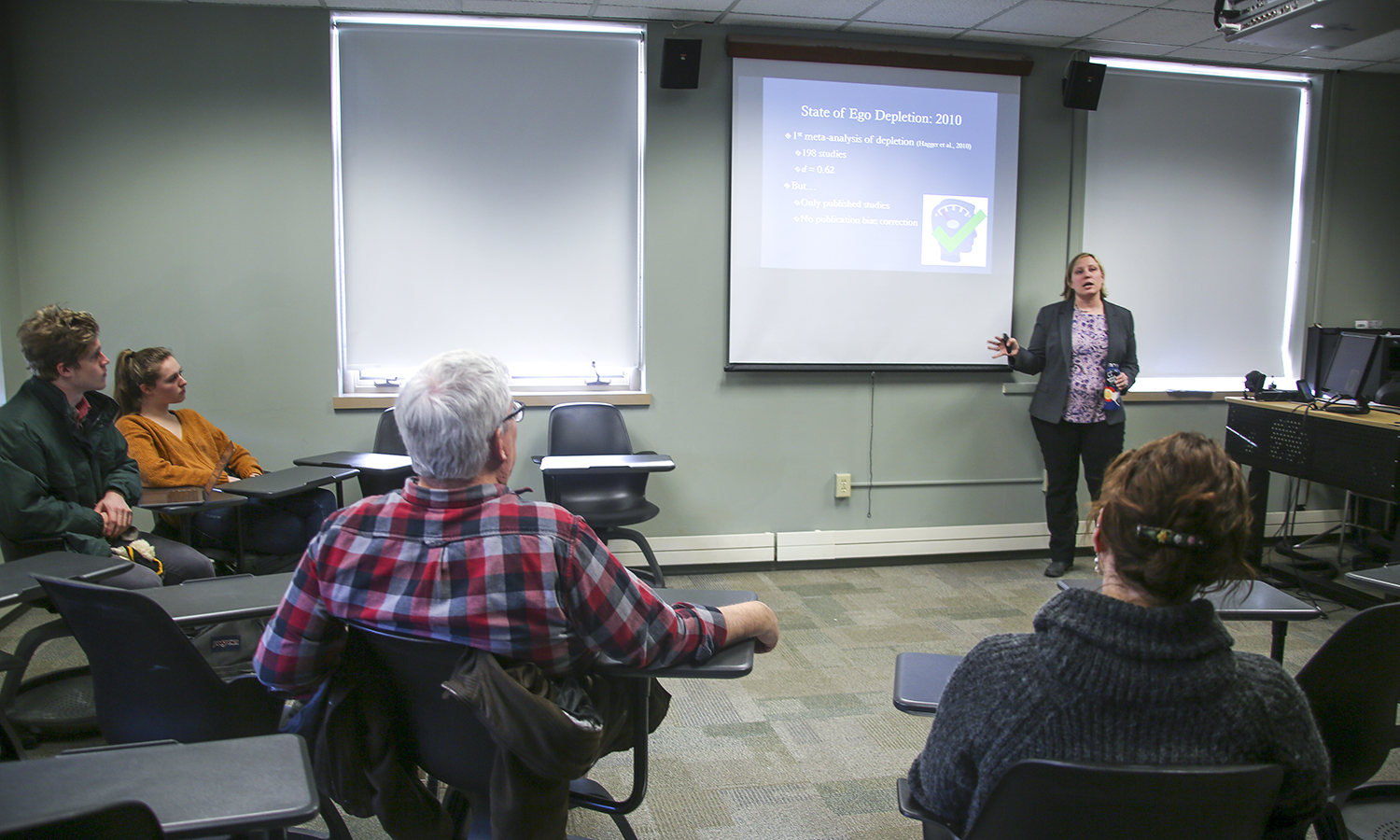 "As part of the annual HWS Psychology Colloquium, Graduate Student Mentor at Texas A&M University Anna Finley discusses relationship between focus, productivity and ego as part of her talk, ""Ego Depletion:  Moving Forward on the After Effects of Self-Control"" in Gulick Hall;."