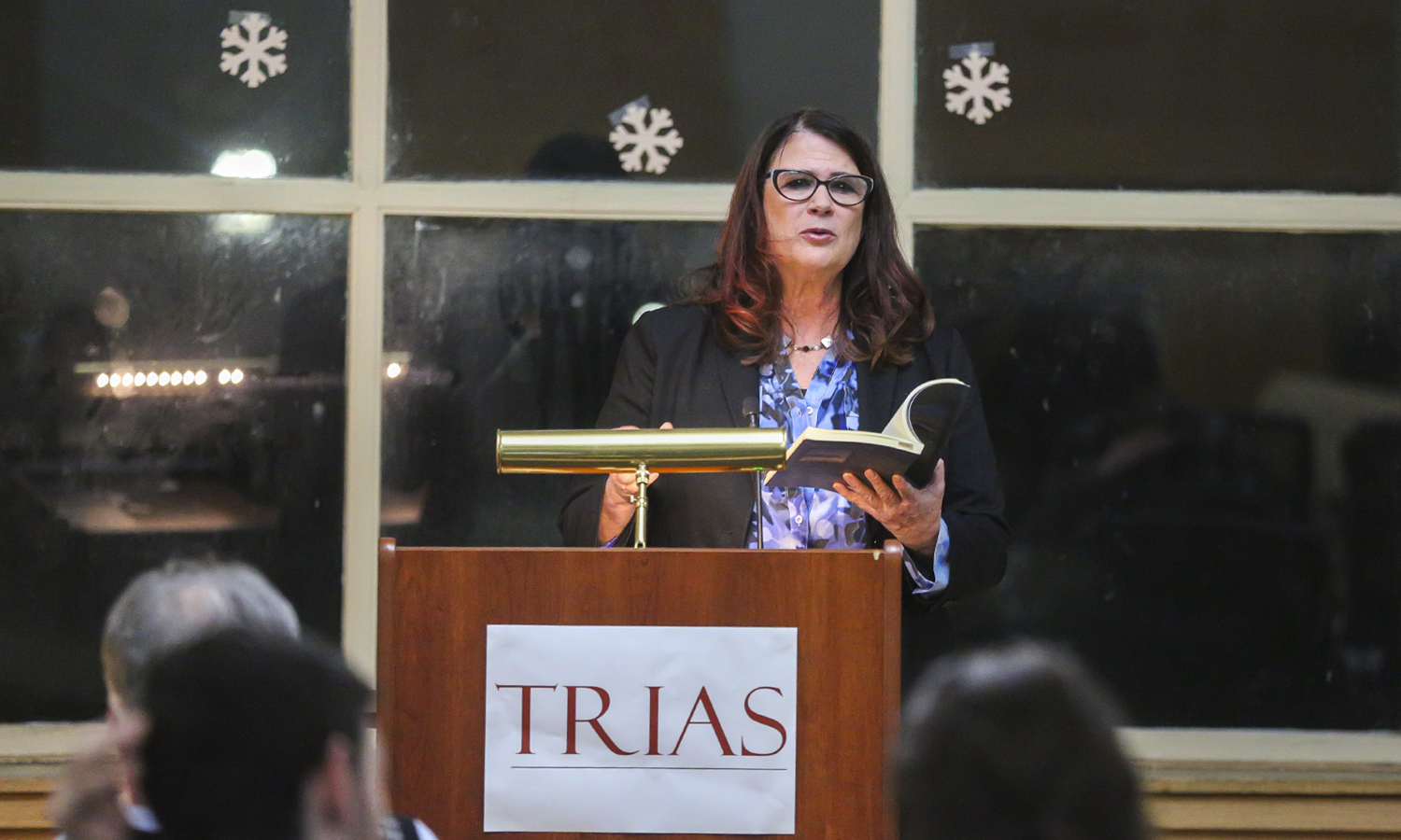 "In the Hirshon Ballroom, Poet Claudia Keelan reads excerpts from ""We Step into the Sea"" as a part of the TRIAS series."