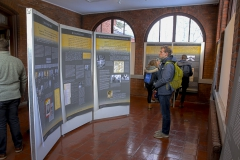 In the Solarium Gallery at Houghton House, X reads about the history of the Wannsee Conference.