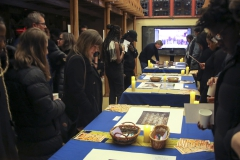 Students examine and comment on images demonstrating the history of rascism and lynching in the United States. The event was co-sponsored by HWS Sankofa the History Department.