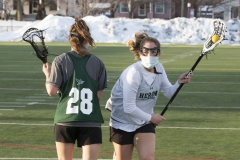 William Smith Lacrosse Practice, KColton, Boswell Field at David J Urick Stadium,green Maddie Schleicher and white Chloe McGlynn