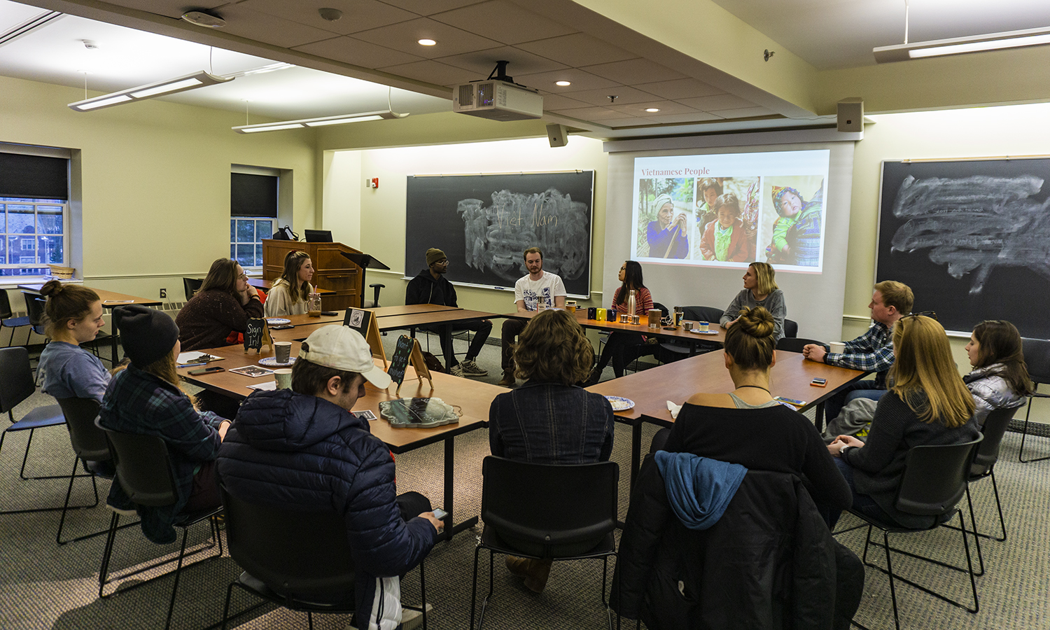Students who studied abroad in Vietnam during the Fall semester of 2018 speak about their experience during the VIetnam edition of the Global Cafe.