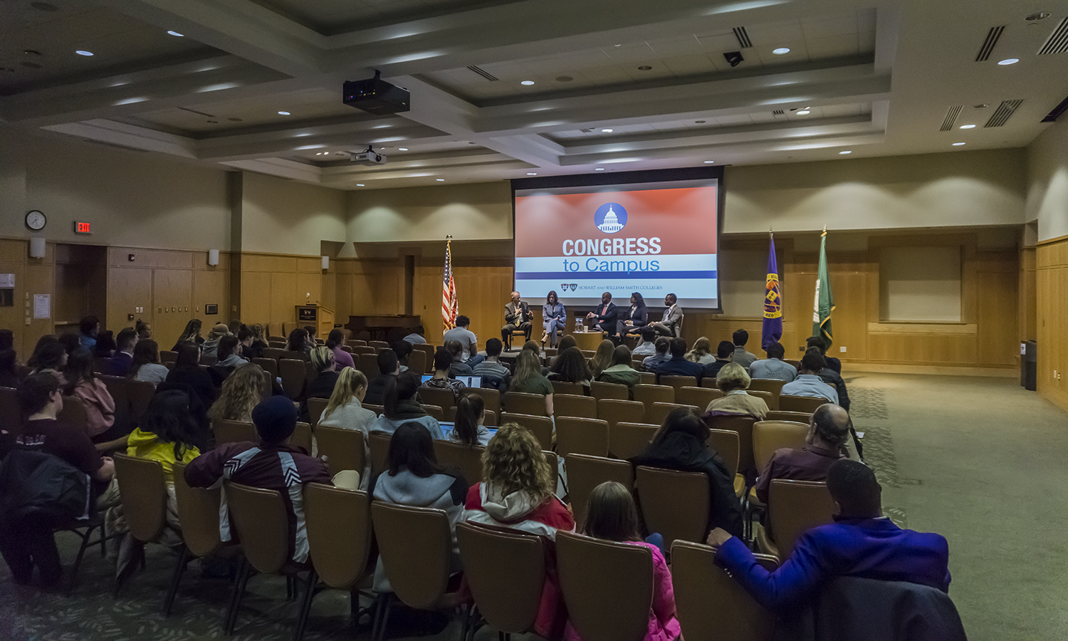 "Former Congressional Representatives Mark Critz (D – PA) and Melissa Hart (R – PA) discuss the state of current American politics and the legislative process  with HWS Vice President and General Counsel Louis H. Guard '07, Divya Tewari '20 and Rotimi Adeoye '18 as part of the ""What's Going on with Congress"" event in the Vandervort Room on Monday."