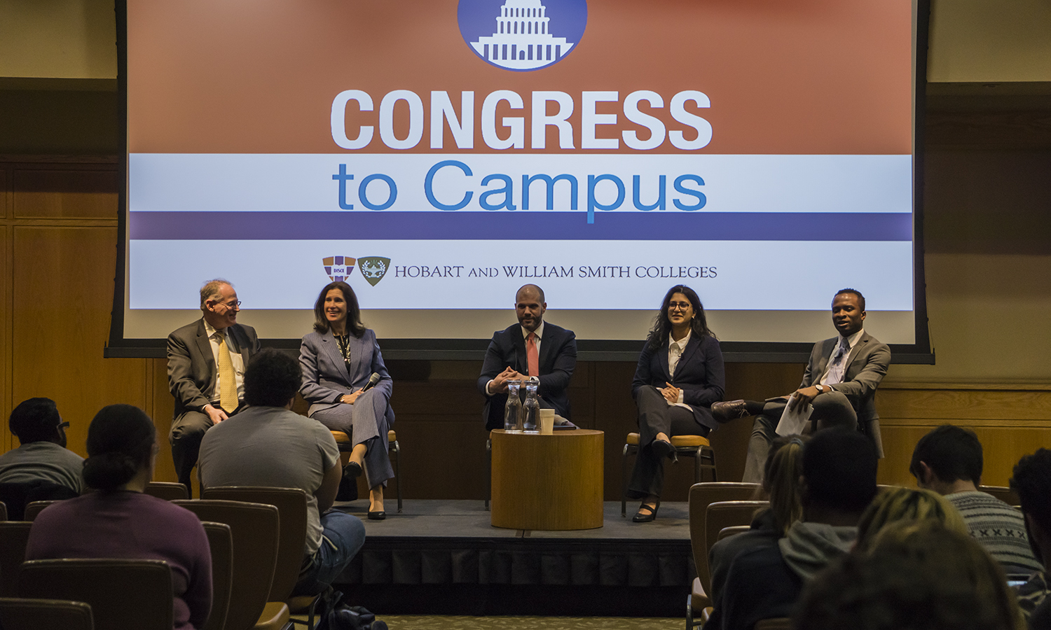 "The panel takes questions from the audience during the ""What's Going on with Congress"" event in the Vandervort Room on Monday."