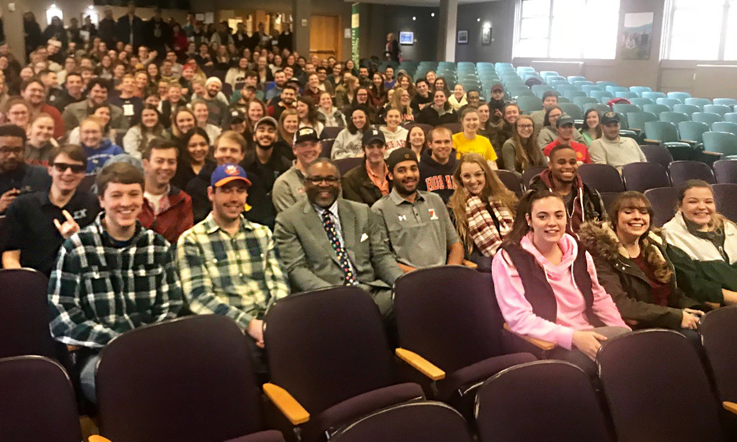 After giving a presention on the final 75 days of the spring semester, President Gregory J. Vincent '83 gathers for a photo with members of the HWS Classes of 2018 in Albright Auditorium.