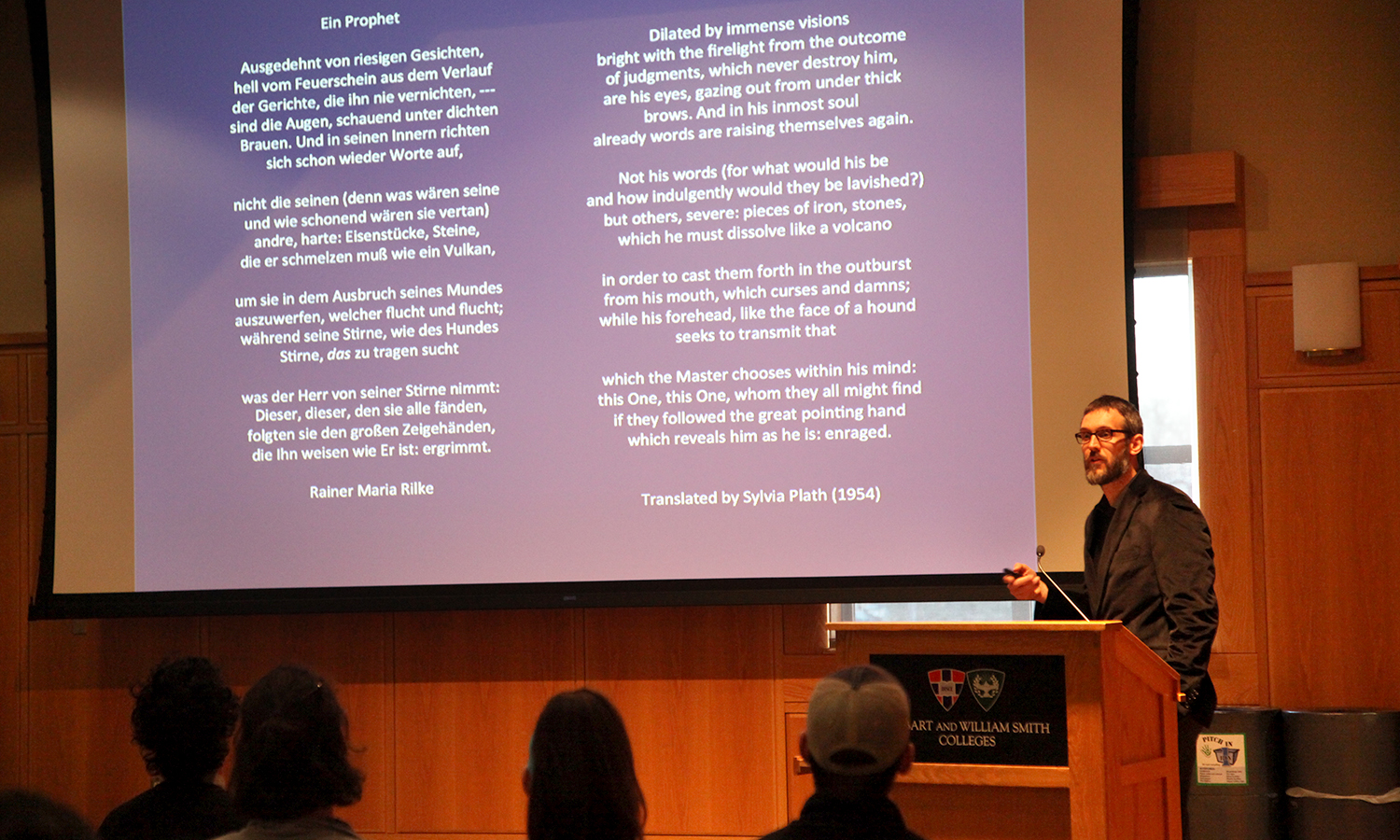 "Associate professor of English at the State University of New York at Fredonia Birger Vanwesenbeeck discusses Sylvia Plath's translation of the 1908 poem by Rainer Maria Rilke: ""Ein Prophet"" during ""Plath Translates Rilke"" in the Sanford Room of Warren Hunting Smith Library."