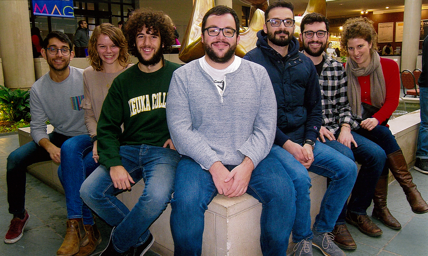Kevin Collado '18, Ren Workman '18 Alejandro Rico, Spanish Fulbright teaching assistant at Keuka CollegeJuan Francisco Amand de Mendieta, Spanish Fulbright teaching assistant at Merrimack College, HWS Arabic Fulbright Teaching Fellow Augar Khoshaba and Graham Hughes '17​ pose for a photo after a visit to Black History Month exhibit at the Memorial Art Gallery in Rochester, N.Y.