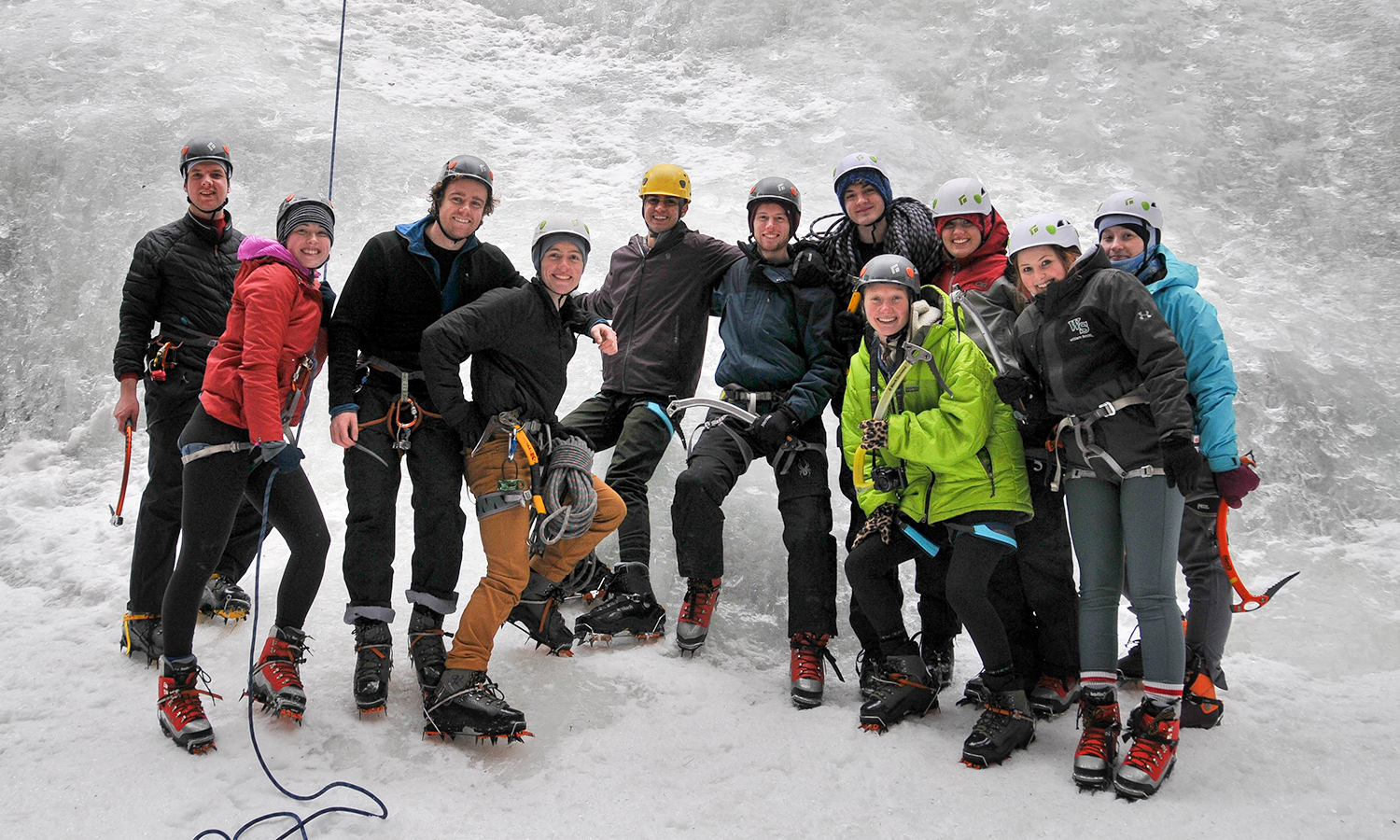 Members of the HWS Outdoor Recreation Program gather for a group photo during a guided ice climbing trip to the Adirondack Mountains.