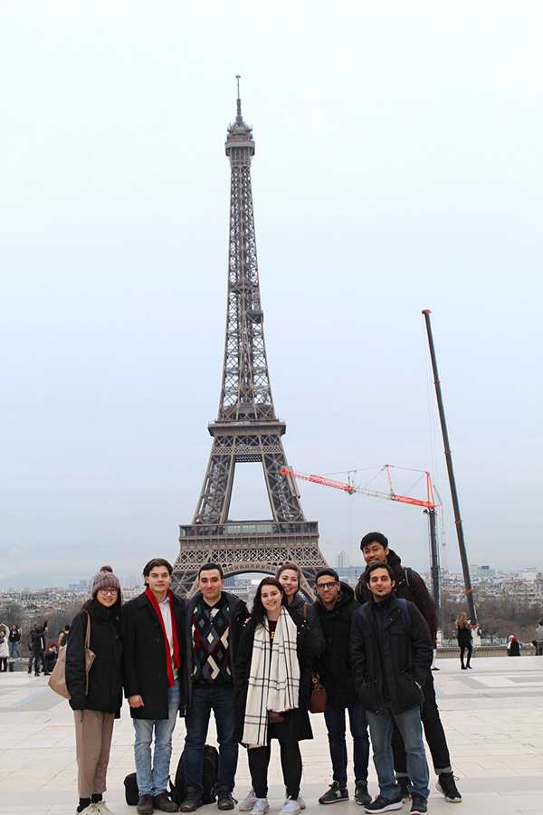 Gabe Pietrorazio '20 (second from left) gathers with fellow students studying abroad in France.