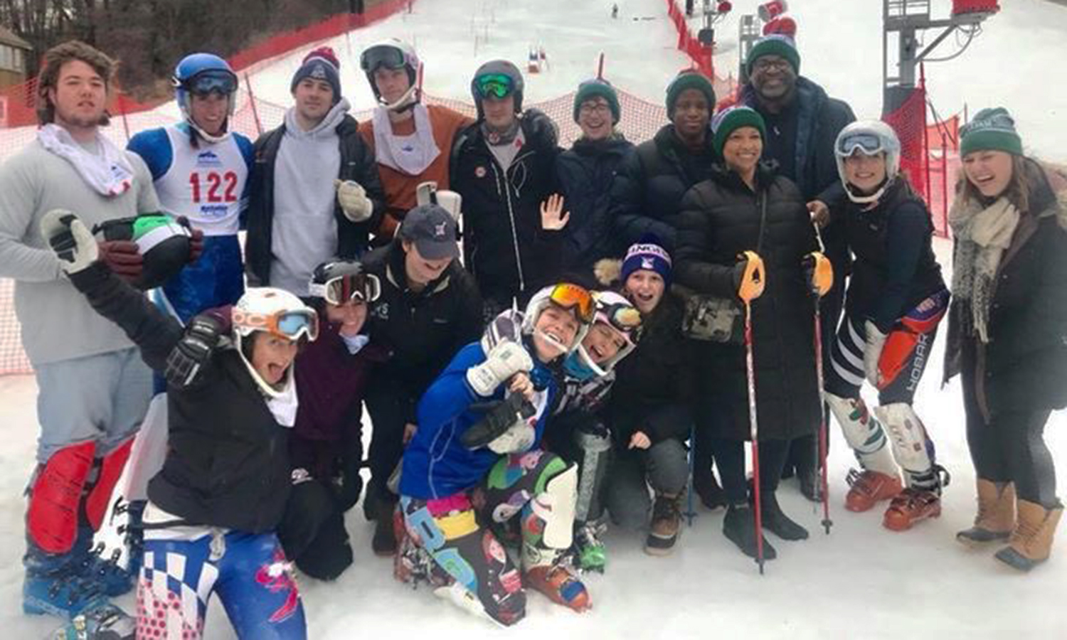 Members of the HWS Alpine Ski Team pose for a photo with President Gregory J. Vincent '83 and his son Cameron at Bristol Mountain.