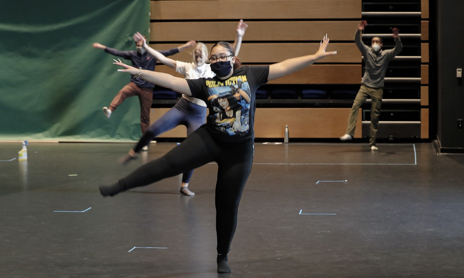"During ""Beginning Dance,"" Laysha Castillo '22, Maddie Filkorn '21 and Darius Brummel '21 work together to create material for their upcoming jazz unit assessment."