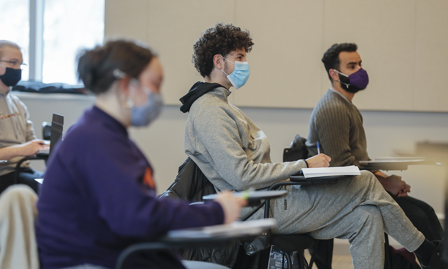 "During ""Introduction to Music Theory"" with Associate Professor of Music Mark Olivieri, Jessica Duma '24, Nicolas Rivera-Torres '23 and Mohamed Abdelhafez '22 study the concept of music intervals."
