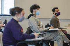 """During """"Introduction to Music Theory"""" with Associate Professor of Music Mark Olivieri, Jessica Duma '24, Nicolas Rivera-Torres '23 and Mohamed Abdelhafez '22 study the concept of music intervals."""