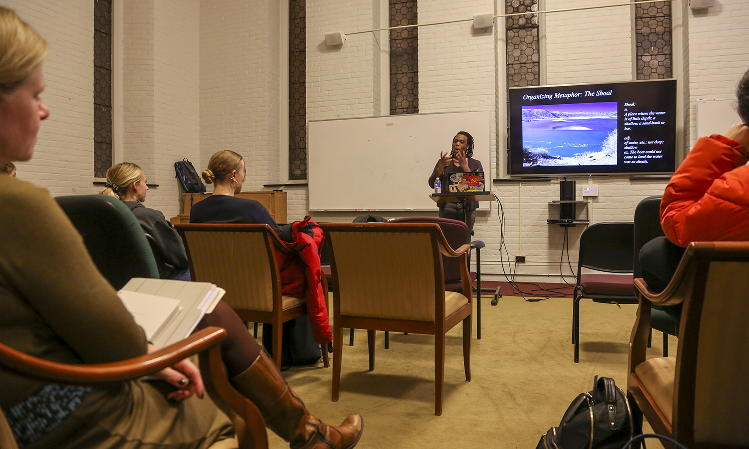 "Assistant Professor of Women's, Gender, and Sexuality Studies at Georgia State University Tiffany King discusses her book <i> Black Shoals: Offshore Formations of Black and Native Studies""</i> at the Fisher Center."