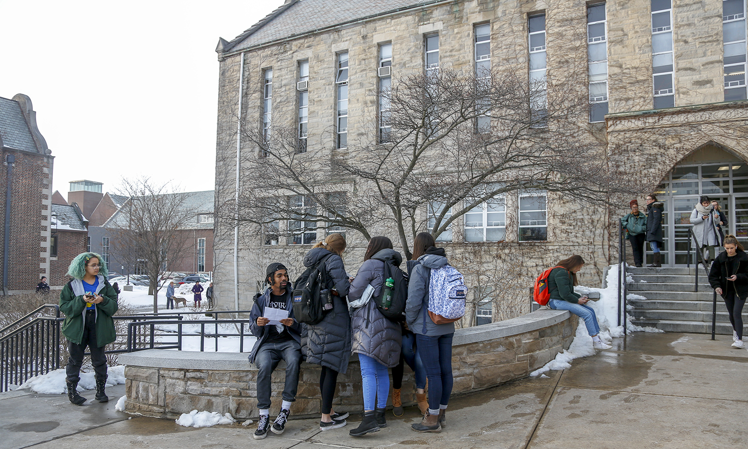 Students gather outside of Demarest Hall between classes.