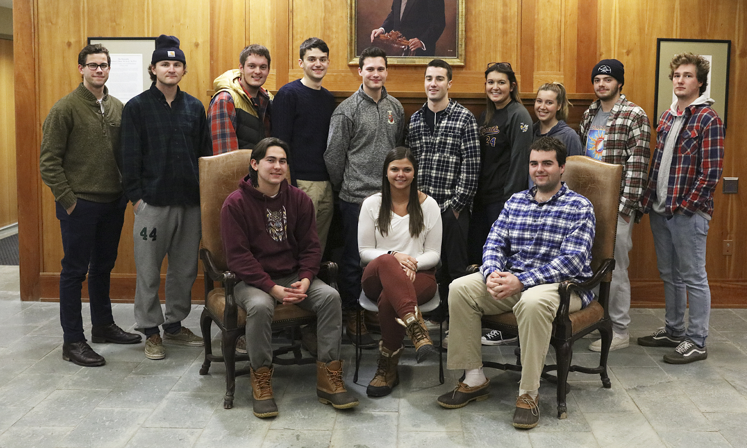 HWS Greek Life leadership gathers for a group photo in Stern Hall.