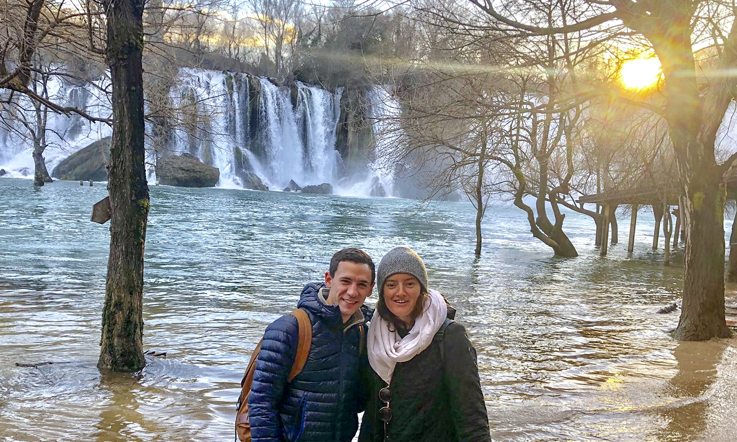 Michael DeRosa '16 and Alice Gormley '15, program leaders for the global youth education company Rustic Pathways, pose in Croatia. The pair are leading an abroad program for high school students through the Balkans region.