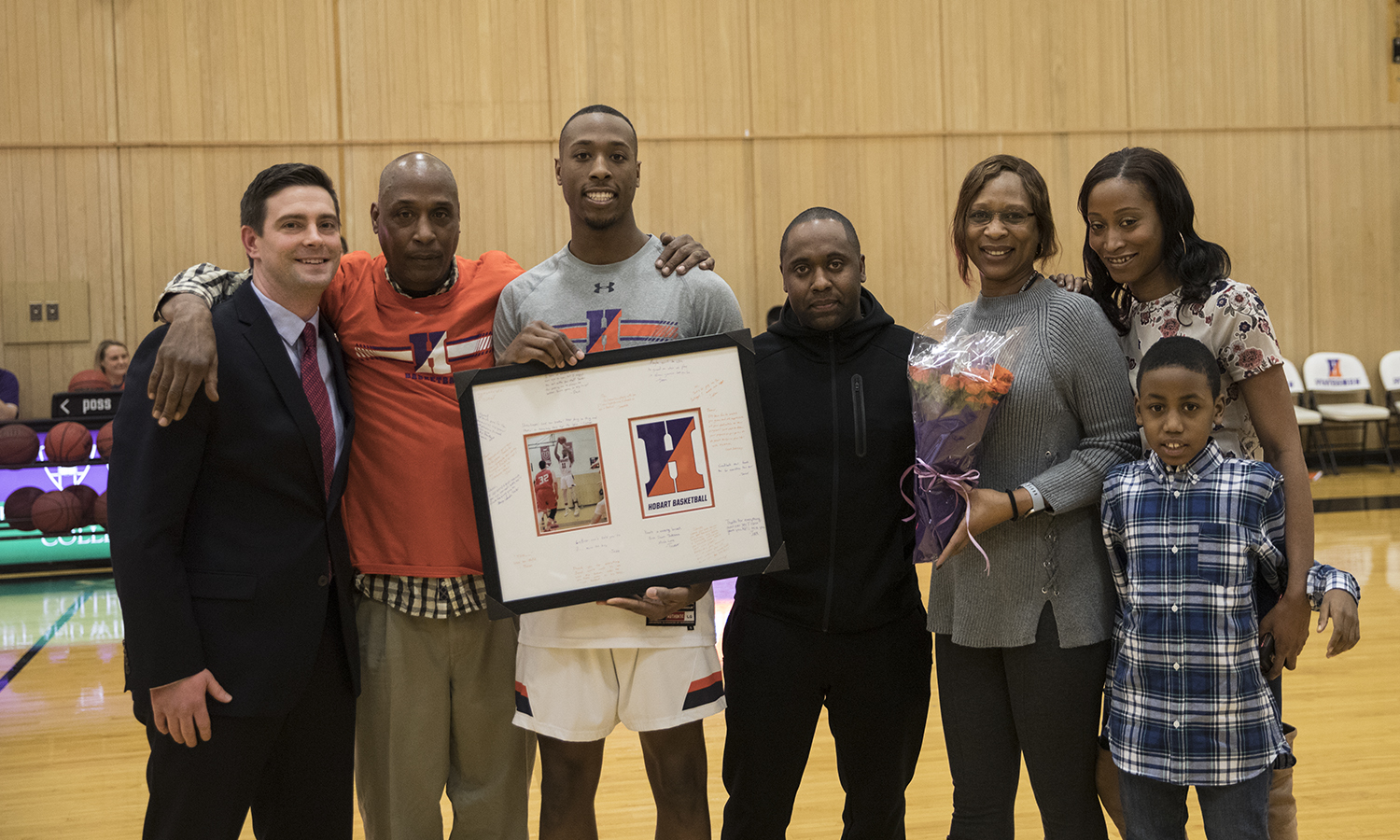 Jamal Lucas '19 is honored by his coaches and family for his contributions to the Hobart Basketball team during senior night. The statesman later went on to defeat Bard College 83-80.