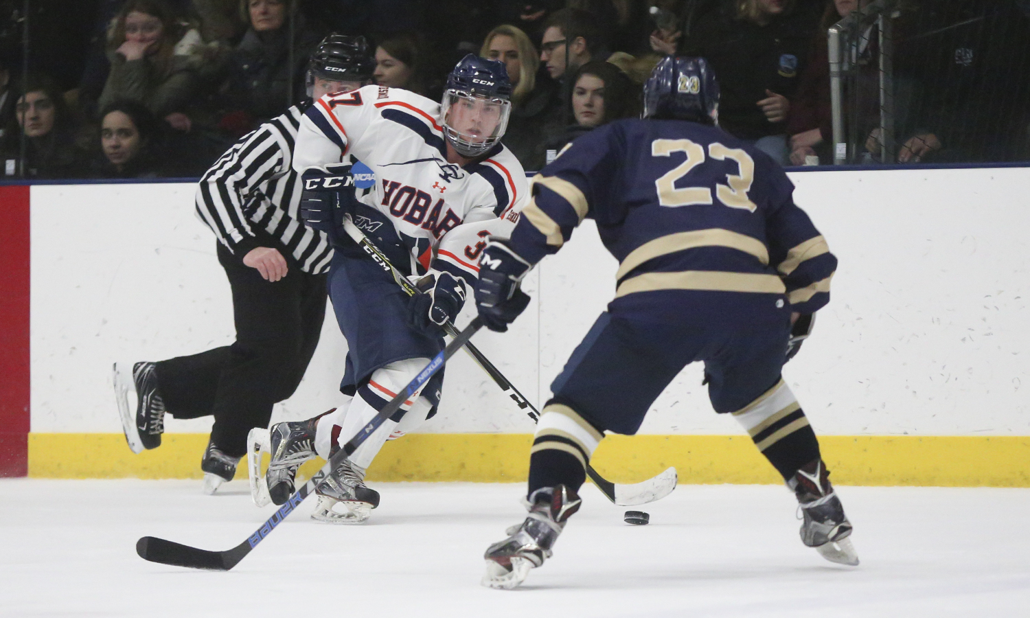 Mark Benemerito '21 looks for an open teammate during Hobart's 5-3 win over Suffolk University at the Cooler.