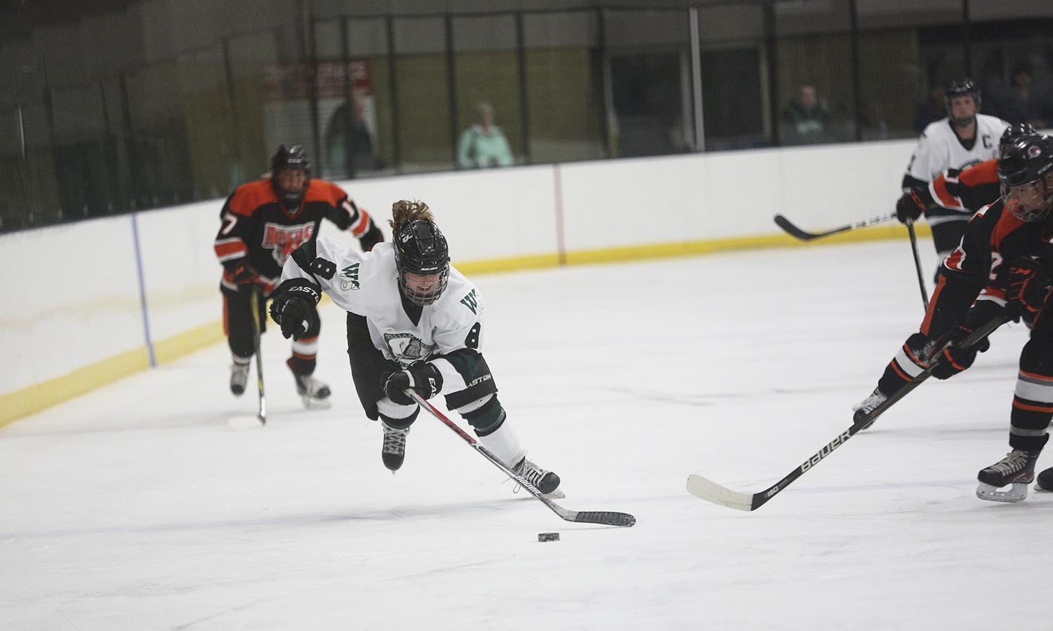 Lindsay Brown '€™19 moves the puck down ice during William Smith's 4-3 win over Buffalo State.