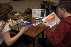 Ainsley Rhodes âX and Austin Kennie âX draw during an open student event sponsored by the Art + Design Collective.