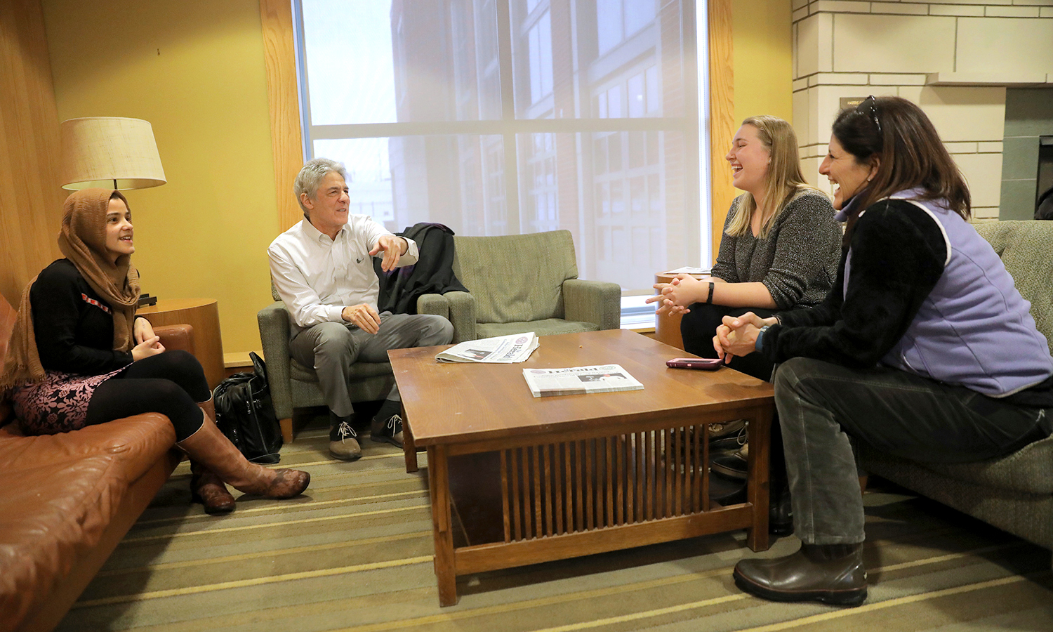 Zahra Arabzada '19, HWS Trustee Stephen Cohen '67, Taylor Gorycki '18 and Associate Dean for Teaching, Learning, and Assessment & Director of the Center for Teaching and Learning Susan Pliner talk about X in Scanding Campus Center.