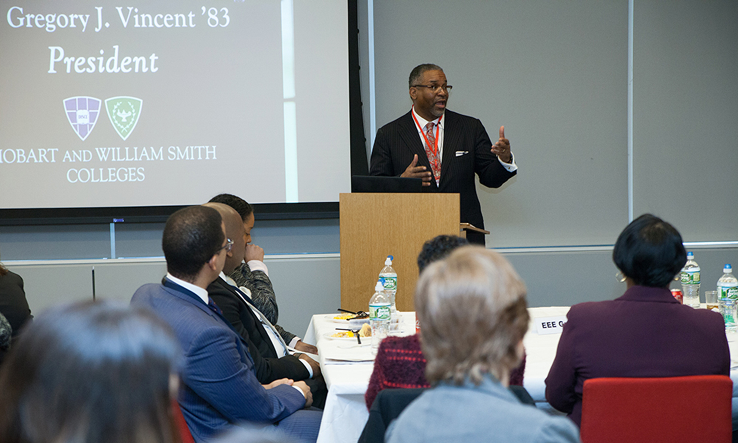 President Gregory J. Vincent '83 delivers the keynote address at African American Affinity Group's celebratory Black History luncheon in Newark, New Jersey.
