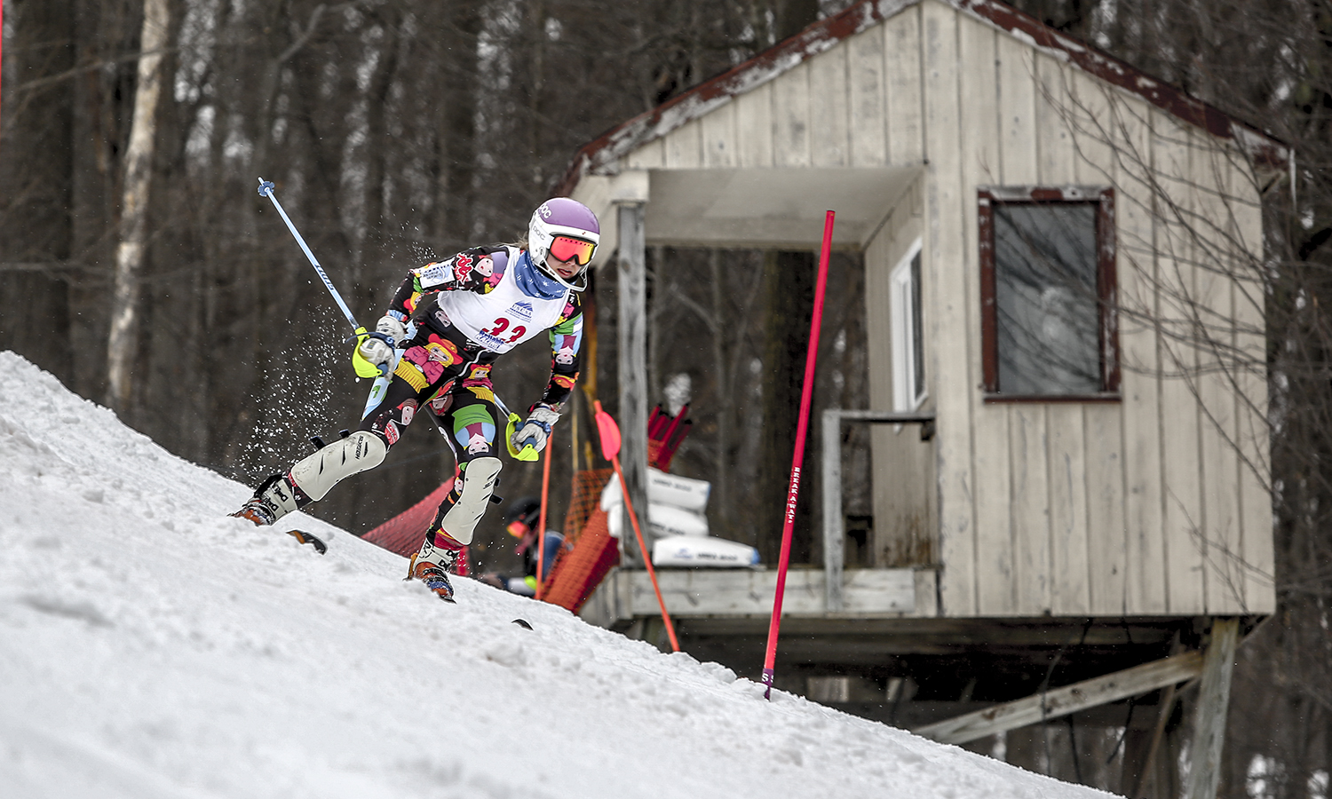 "Conner ""CoCo"" Clemens '18 races downhill as part of the USCSA Nationals at Greek Peak Mountain Resort in Cortland, N.Y."