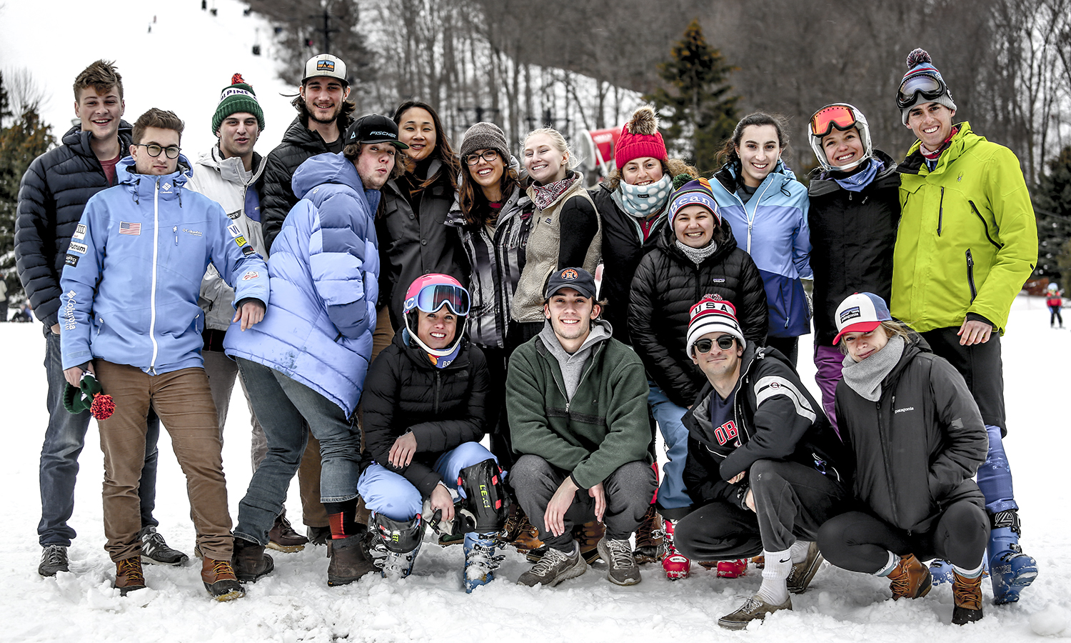Members of the HWS Alpine Ski Team gather for a group photo during USCSA Nationals at Greek Peak Mountain Resort in Cortland, N.Y.
