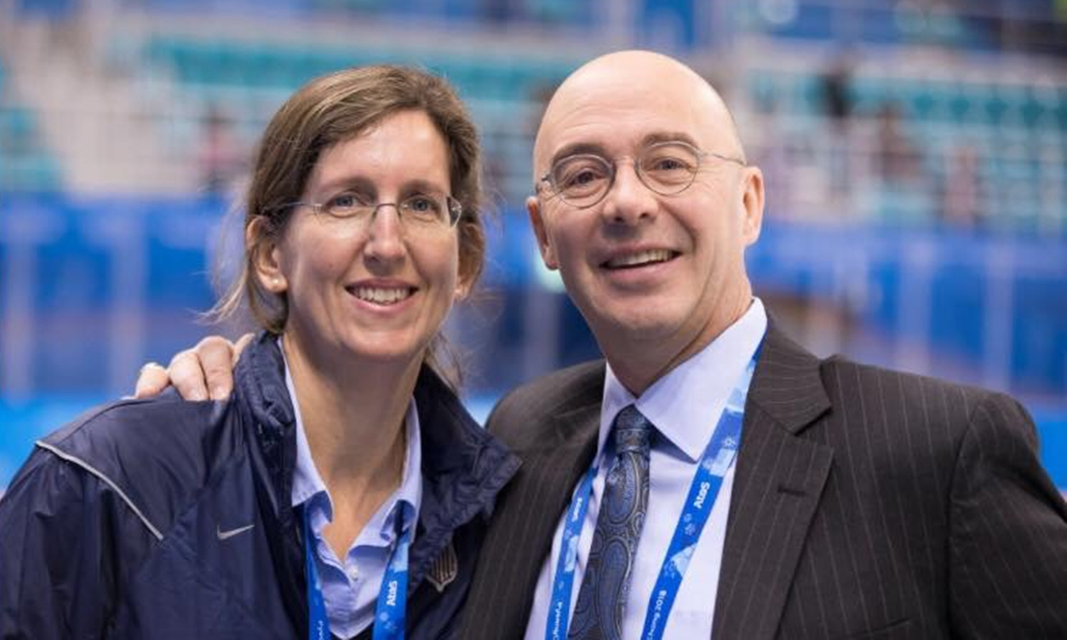 Head Physician of the U.S. Women's Hockey Team Dr. Allyson Shirtz Howe '94 poses for a photo with Emmy-award winning analyst for NBC sports Pierre McGuire '83 at the 2018 Olympics in PyeongChang, South Korea. McGuire will deliver commentary and interview hockey players competing for gold when ice hockey events begin Feb. 10.