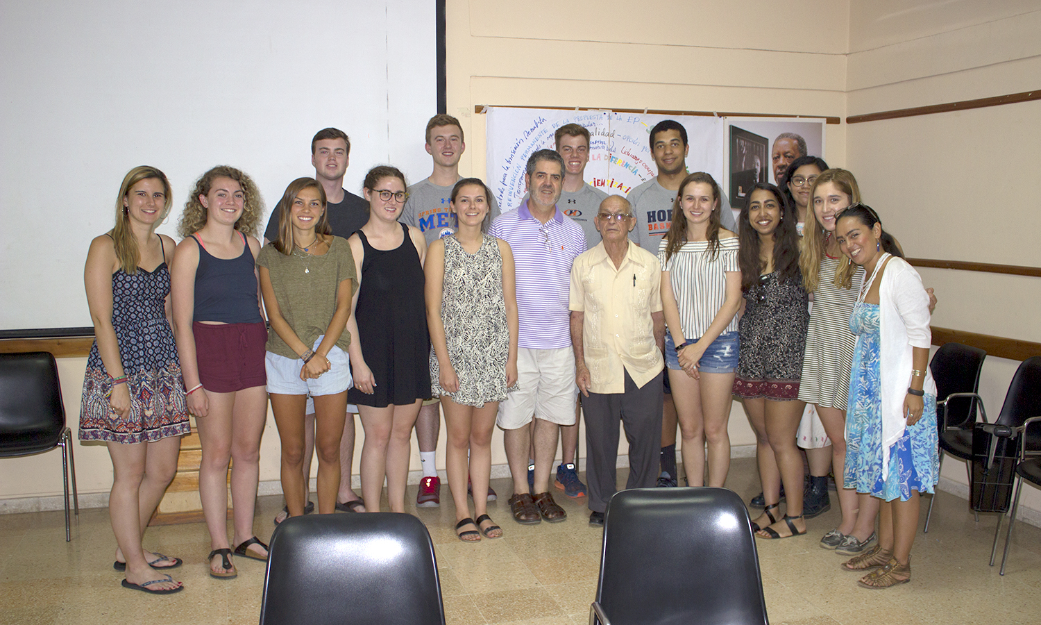 On their second day in Cuba, HWS students are greeted with Rev. Raul Suarez who founded the Center Memorial Martin Luther King Jr.