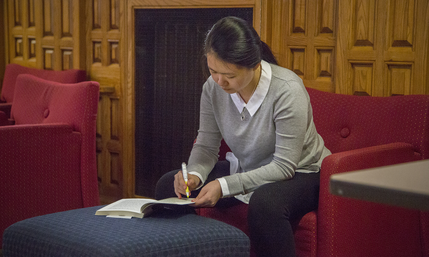 Charmaine Bing Bing Chung studies in the Blackwell room before class.