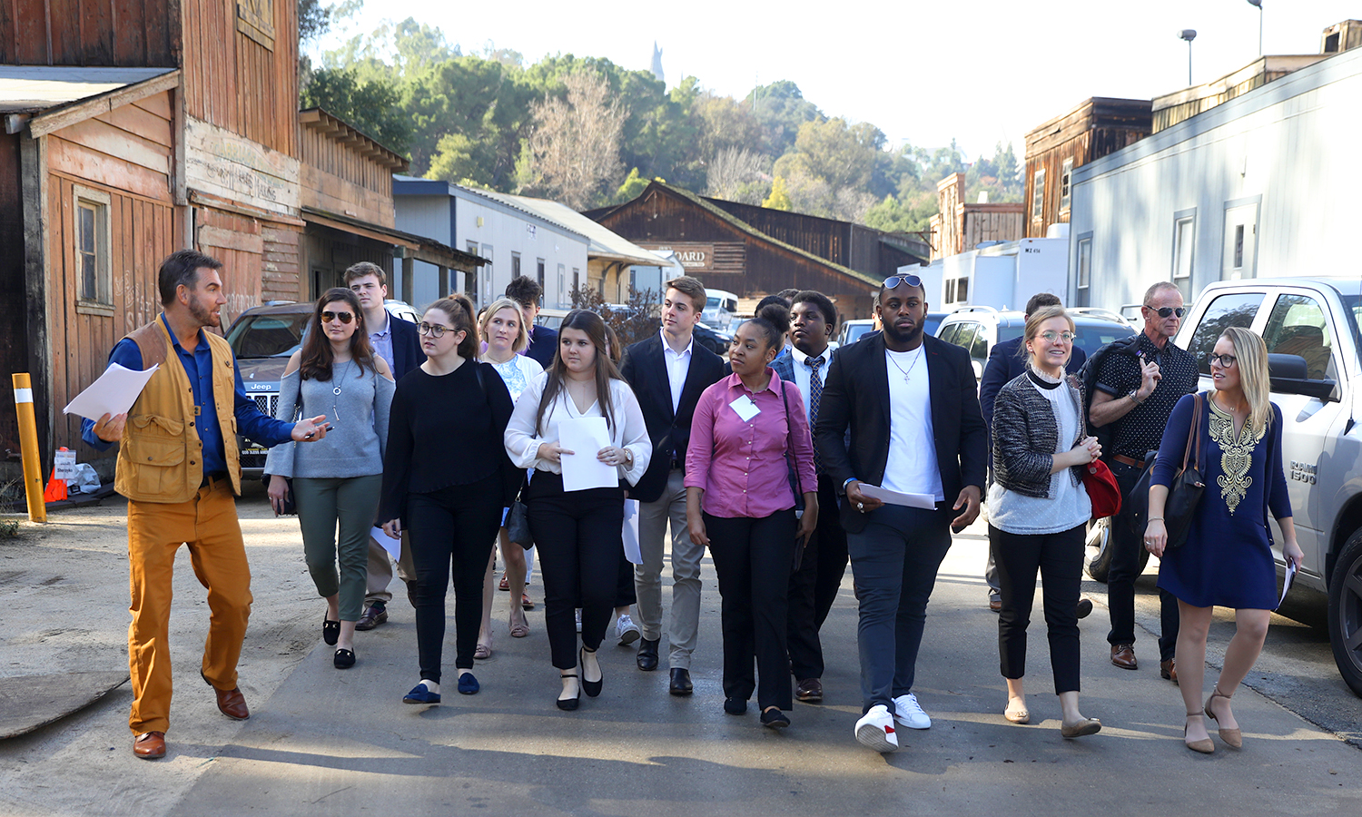 William Keck '90, Producer, Hallmark's Home & Family leads students to set at NBC Studios.